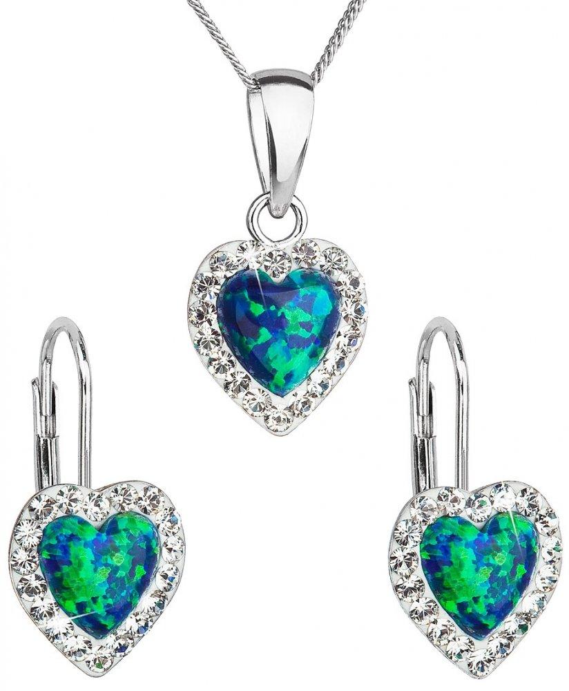 Sada šperků se syntetickým opálem a krystaly Swarovski náušnice a přívěšek zelené srdce 39161.1 Green s. Opal