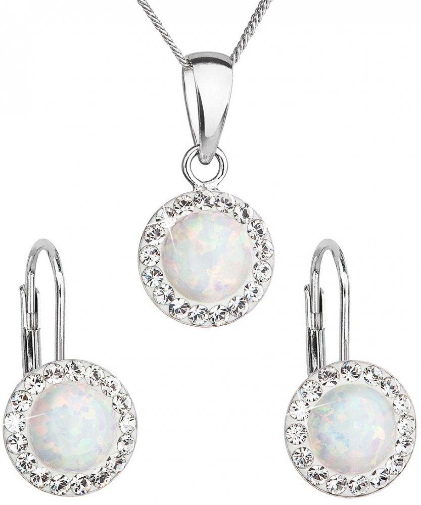 Sada šperků se syntetickým opálem a krystaly Swarovski náušnice a přívěšek bílé kulaté 39160.1 White s. Opal