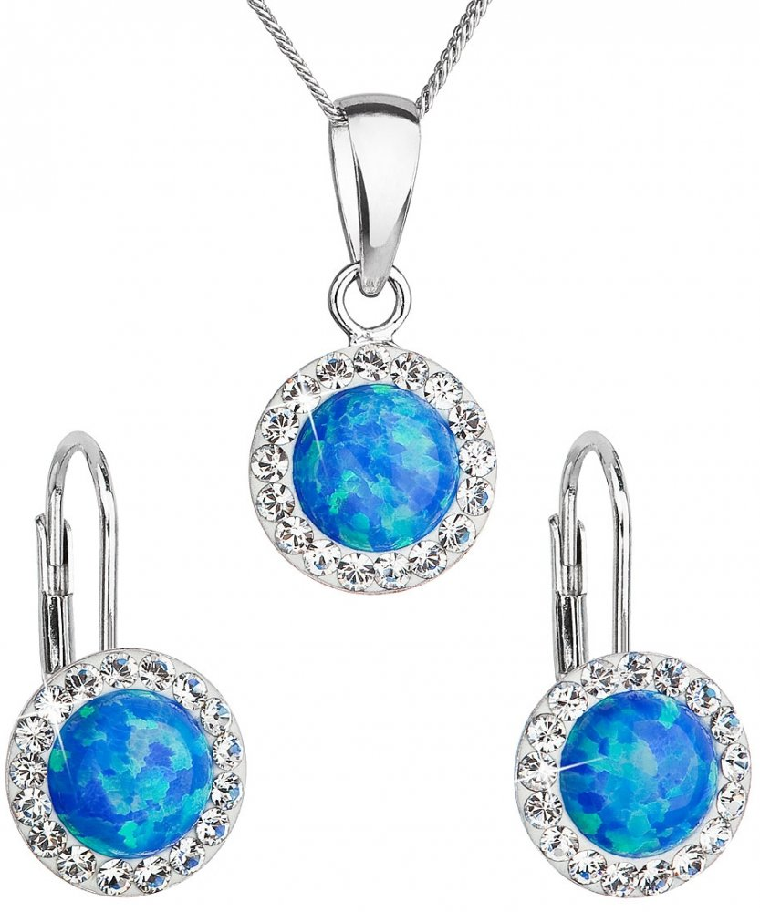 Sada šperků se syntetickým opálem a krystaly Swarovski náušnice a přívěšek modré kulaté 39160.1 Blue s. Opal