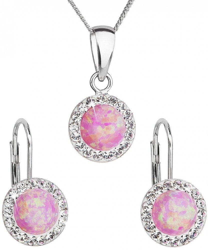 Sada šperků se syntetickým opálem a krystaly Swarovski náušnice a přívěšek světle růžové kulaté 39160.1 Light Rose Opal