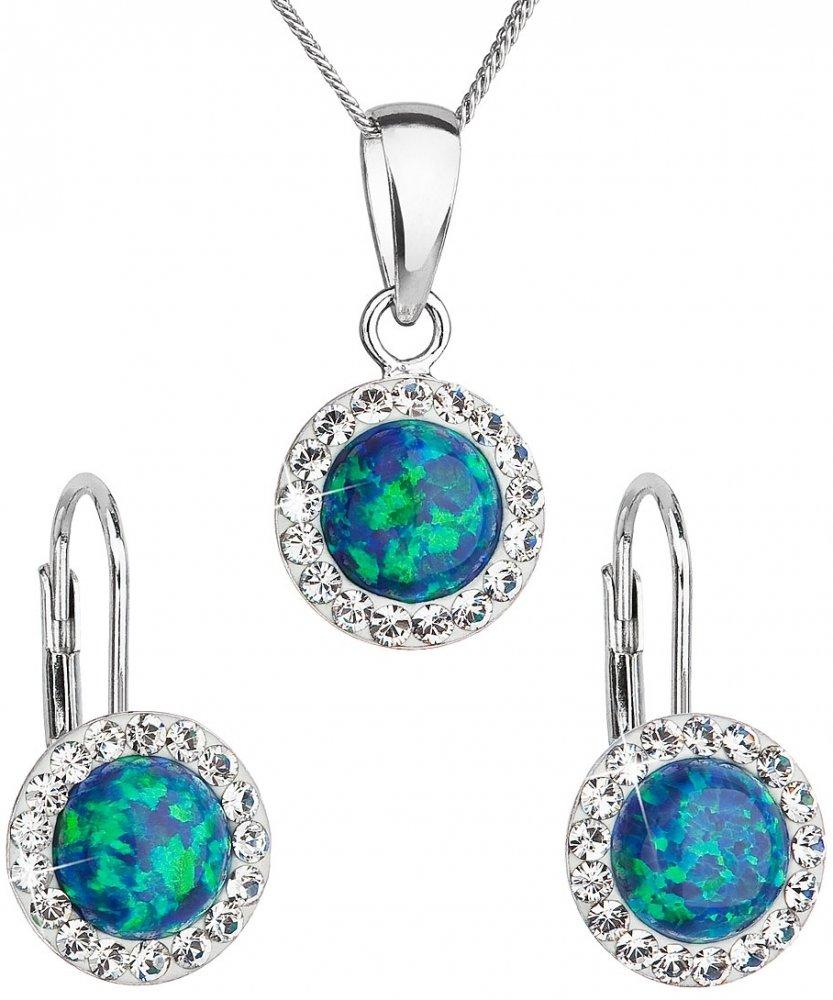 Sada šperků se syntetickým opálem a krystaly Swarovski náušnice a přívěšek zelené kulaté 39160.1 Green s. Opal