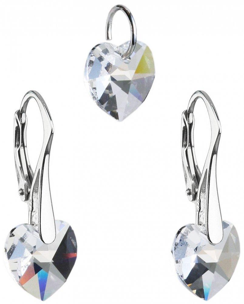 Sada šperků s krystaly Swarovski náušnice a přívěsek bílá srdce 39003.1 Krystal