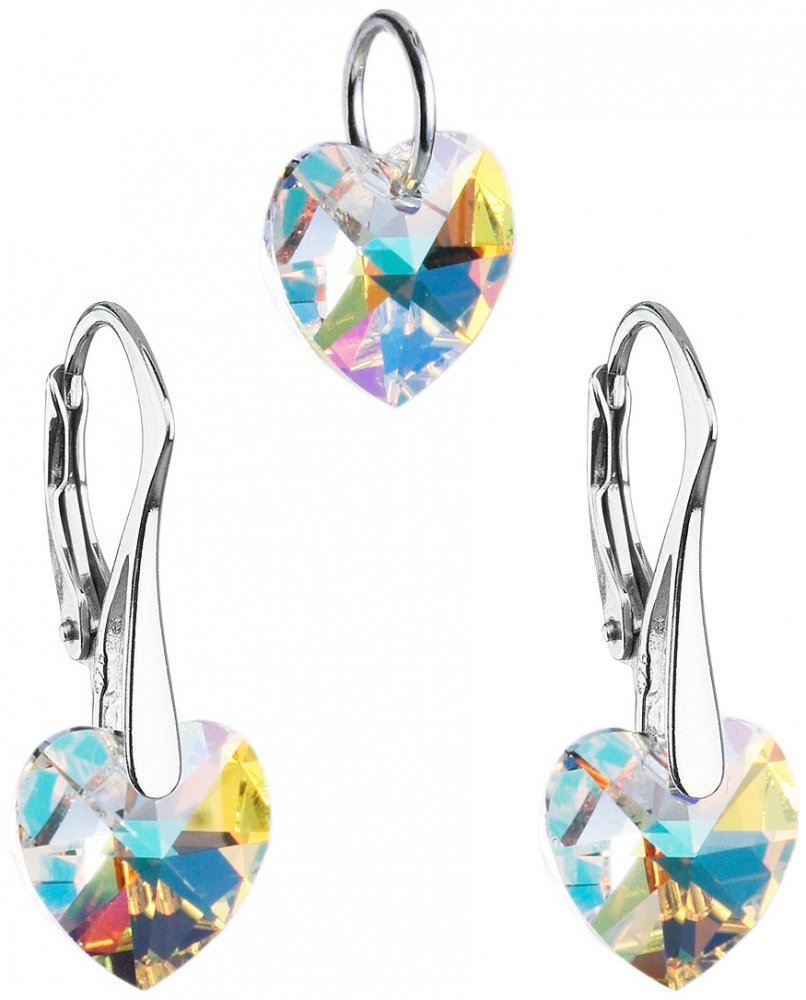 Sada šperků s krystaly Swarovski náušnice a přívěsek AB efekt srdce 39003.2 AB