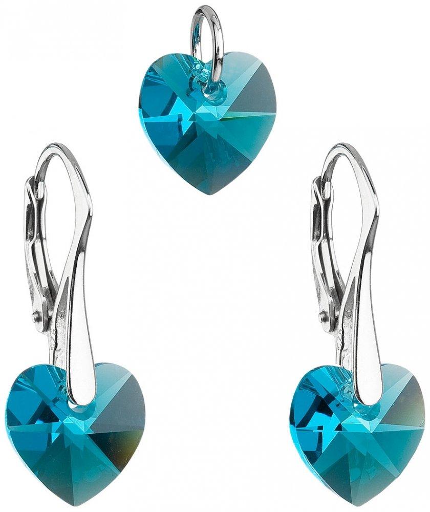Sada šperků s krystaly Swarovski náušnice a přívěsek modrá srdce 39003.3 Blue Zircon