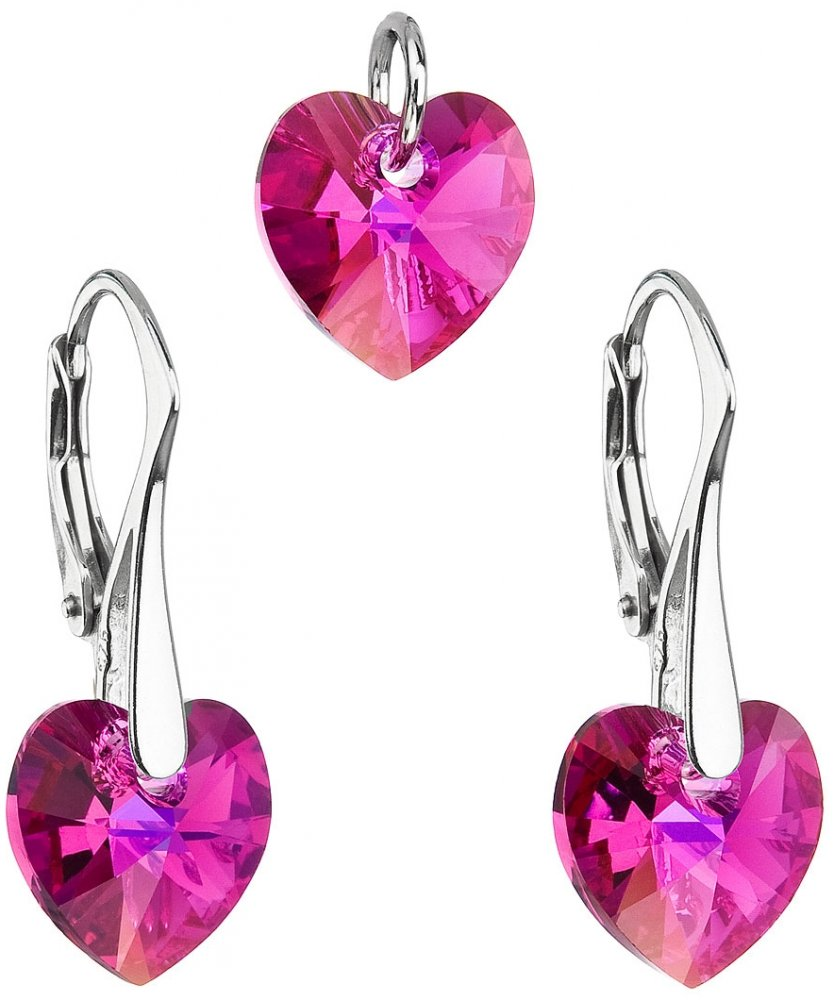 Sada šperků s krystaly Swarovski náušnice a přívěsek růžová srdce 39003.4 Fuchsia