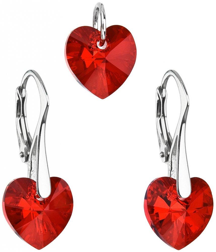 Sada šperků s krystaly Swarovski náušnice a přívěsek červená srdce 39003.4 Siam