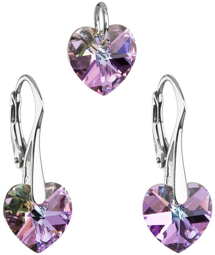 Sada šperků s krystaly Swarovski náušnice a přívěsek fialová srdce 39003.5 Vitrail Light
