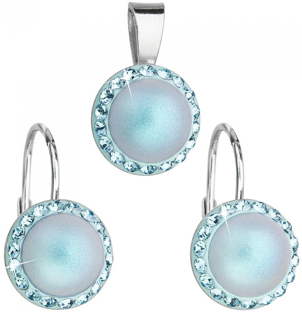 Sada šperků s krystaly Swarovski náušnice a přívěsek se světlemodrou matnou perlou kulaté 39091.3 Light blue