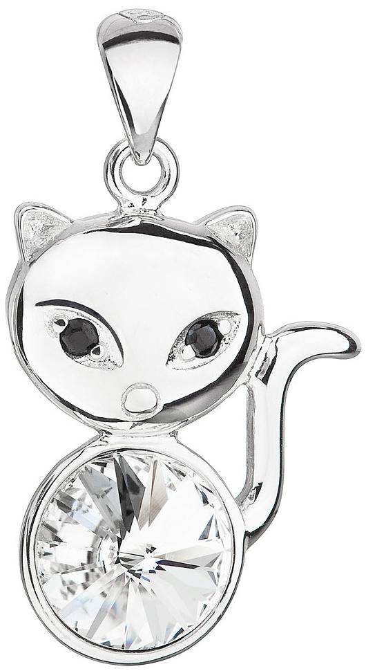 Stříbrný přívěsek s krystalem Swarovski bílá kočka 34235.1 Krystal