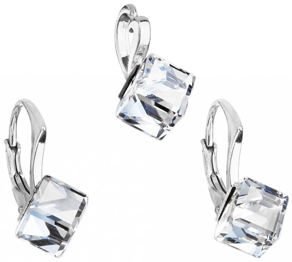 Sada šperků s krystaly Swarovski náušnice a přívěsek bílá kostička 39068.1 Krystal