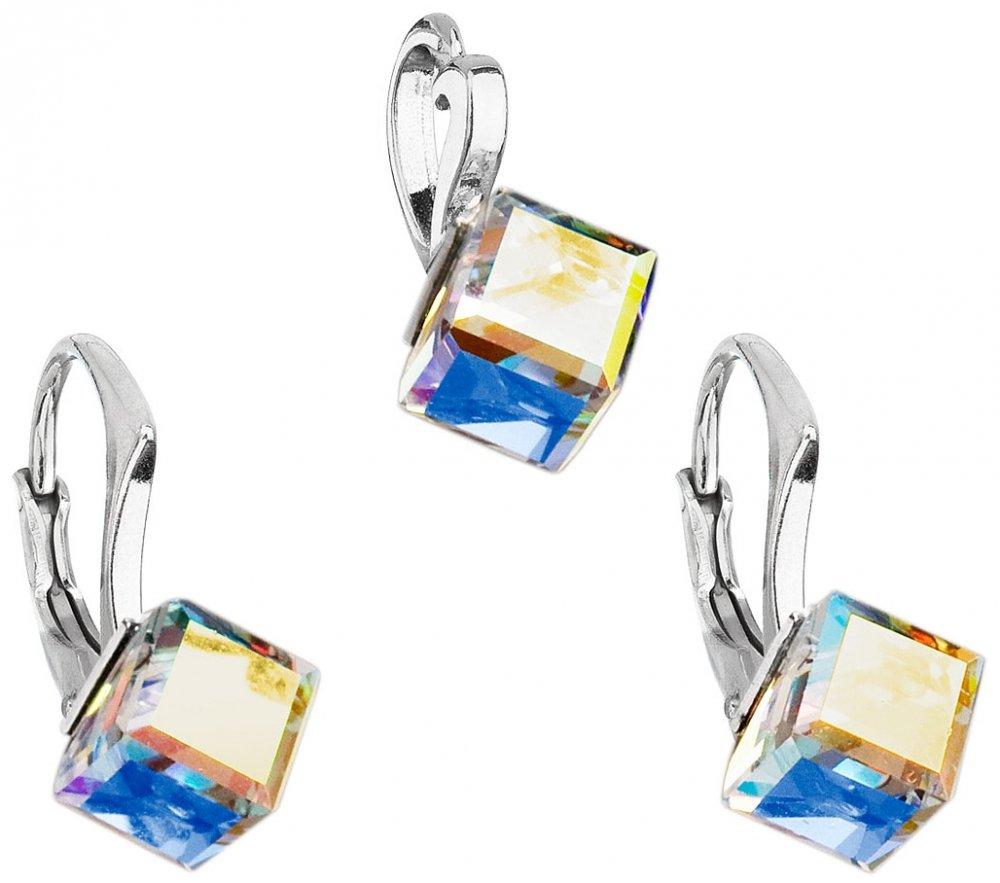 Sada šperků s krystaly Swarovski náušnice a přívěsek AB efekt bílá kostička 39068.2 AB