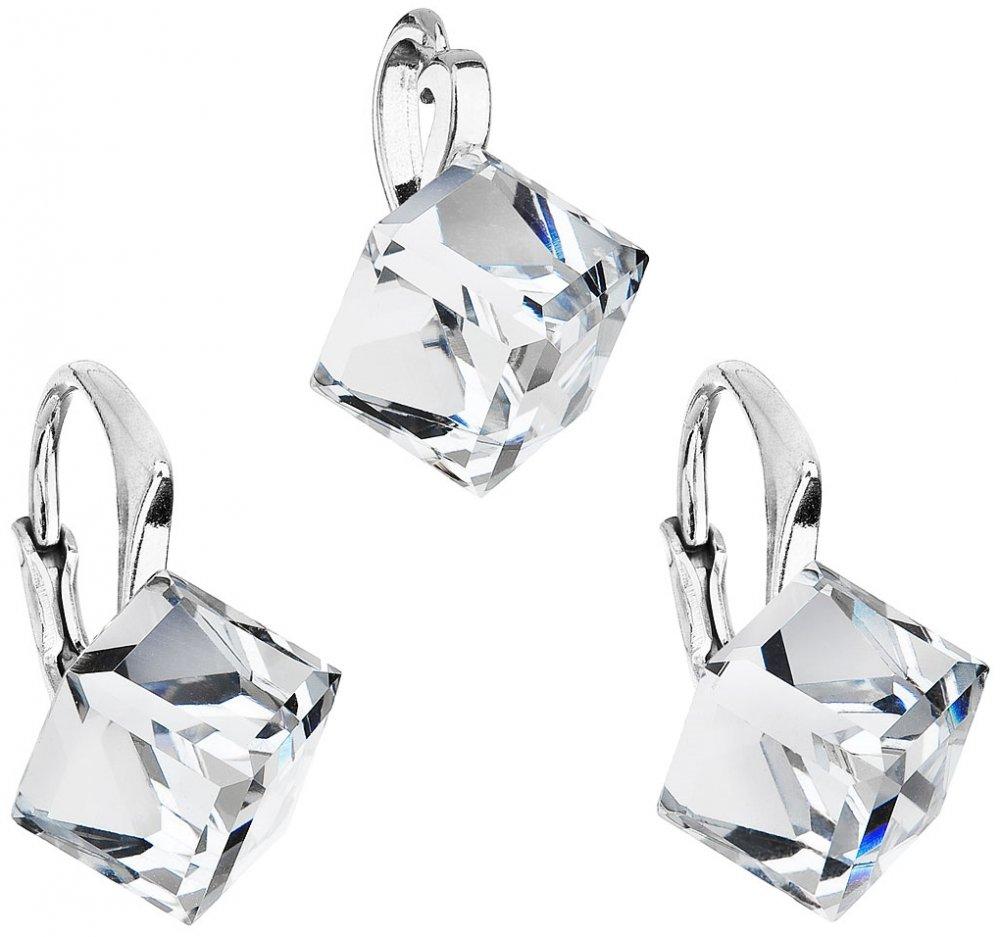Sada šperků s krystaly Swarovski náušnice a přívěsek bílá kostička 39111.1 Krystal