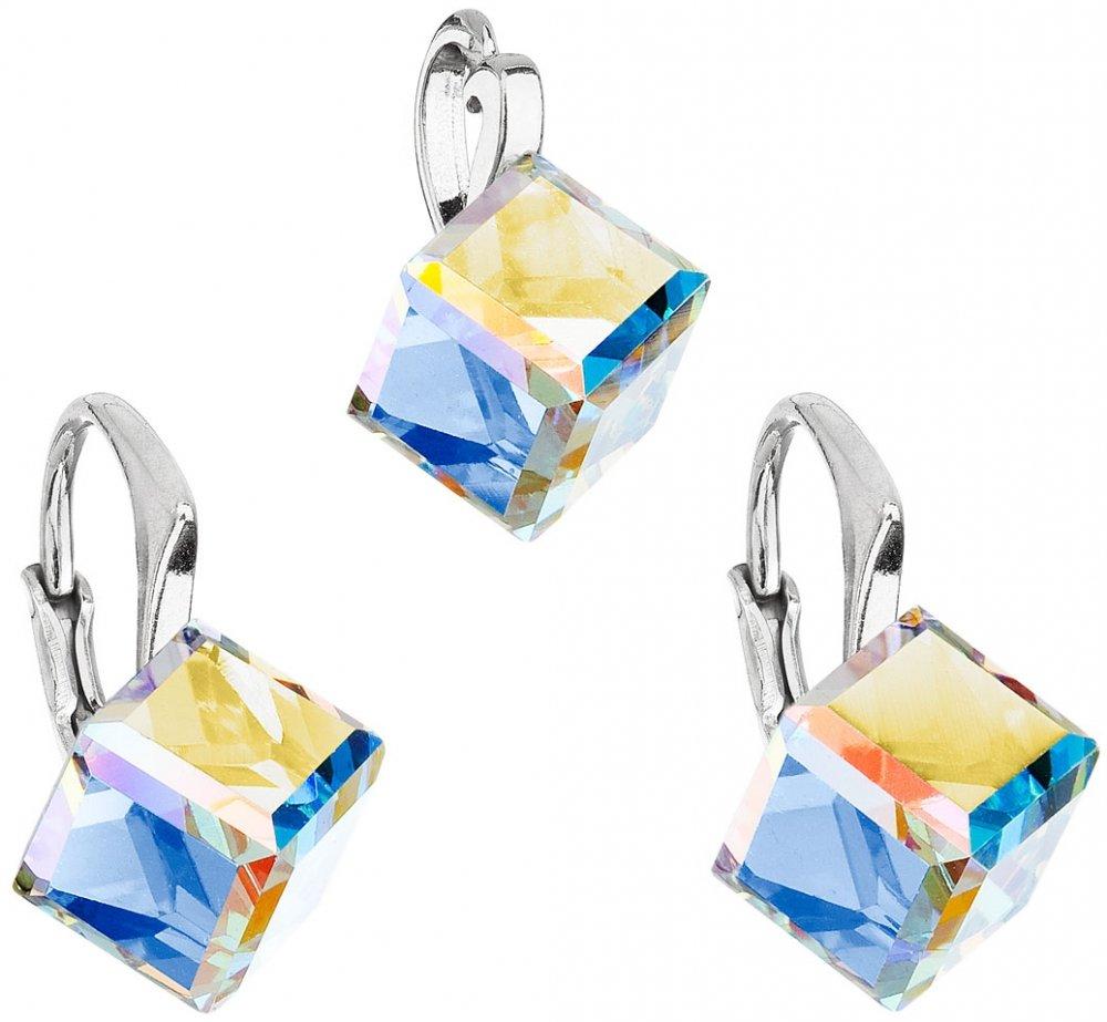 Sada šperků s krystaly Swarovski náušnice a přívěsek AB efekt kostička 39111.2 AB