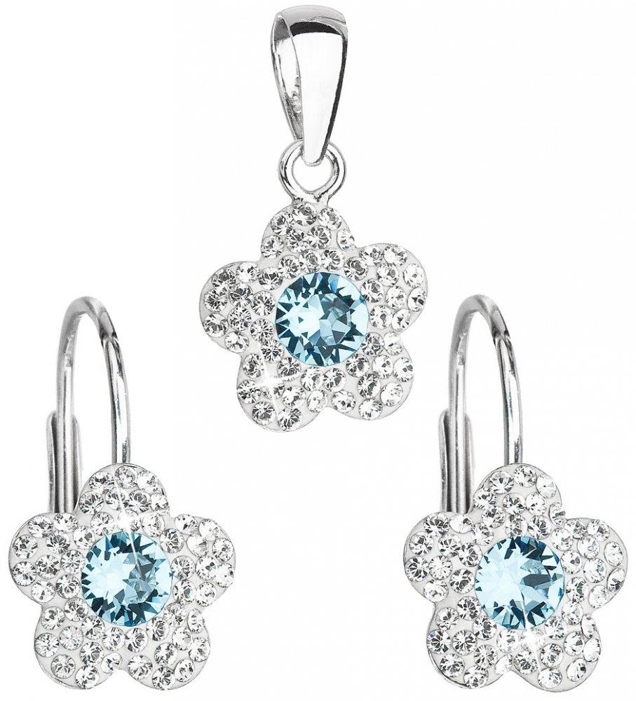 Sada šperků s krystaly Swarovski náušnice a přívěsek modrá kytička 39162.3 Aquamarine