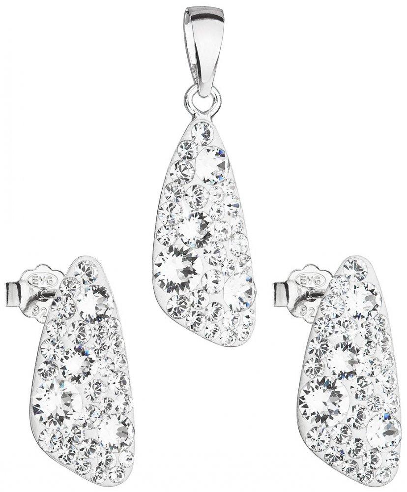 Sada šperků s krystaly Swarovski náušnice a přívěsek bílý 39167.1 Krystal