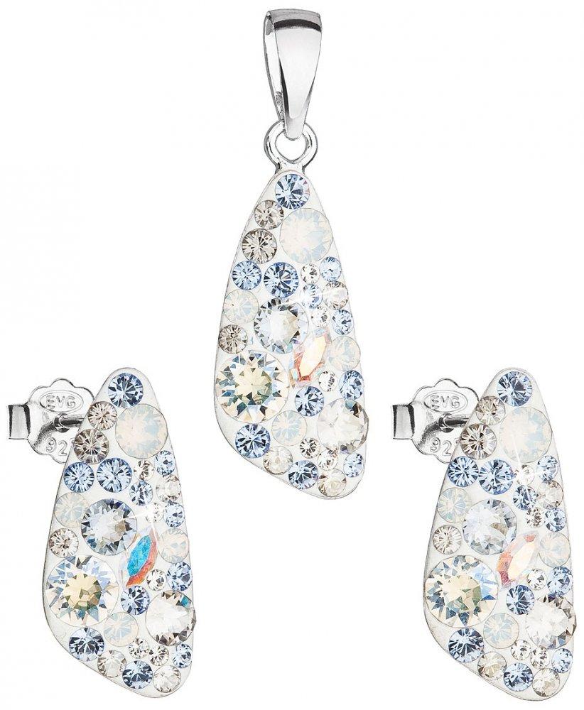 Sada šperků s krystaly Swarovski náušnice a přívěsek modrý 39167.3 Light Sapphire