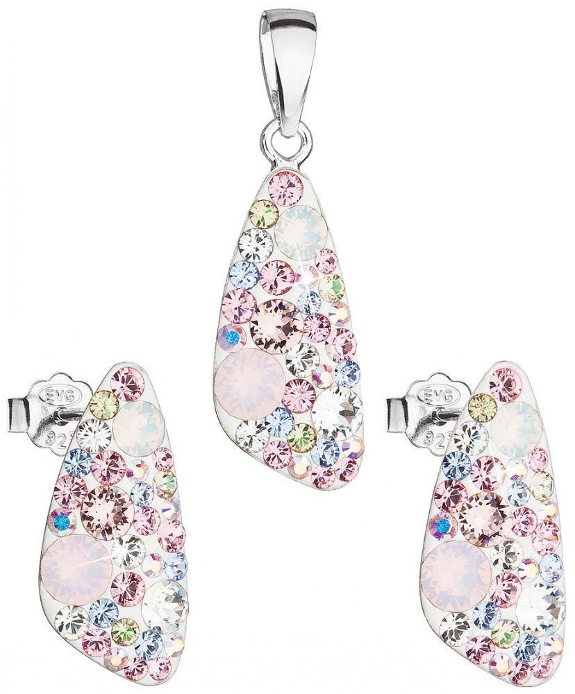 Sada šperků s krystaly Swarovski náušnice a přívěsek mix barev růžový 39167.3 Magic Rose