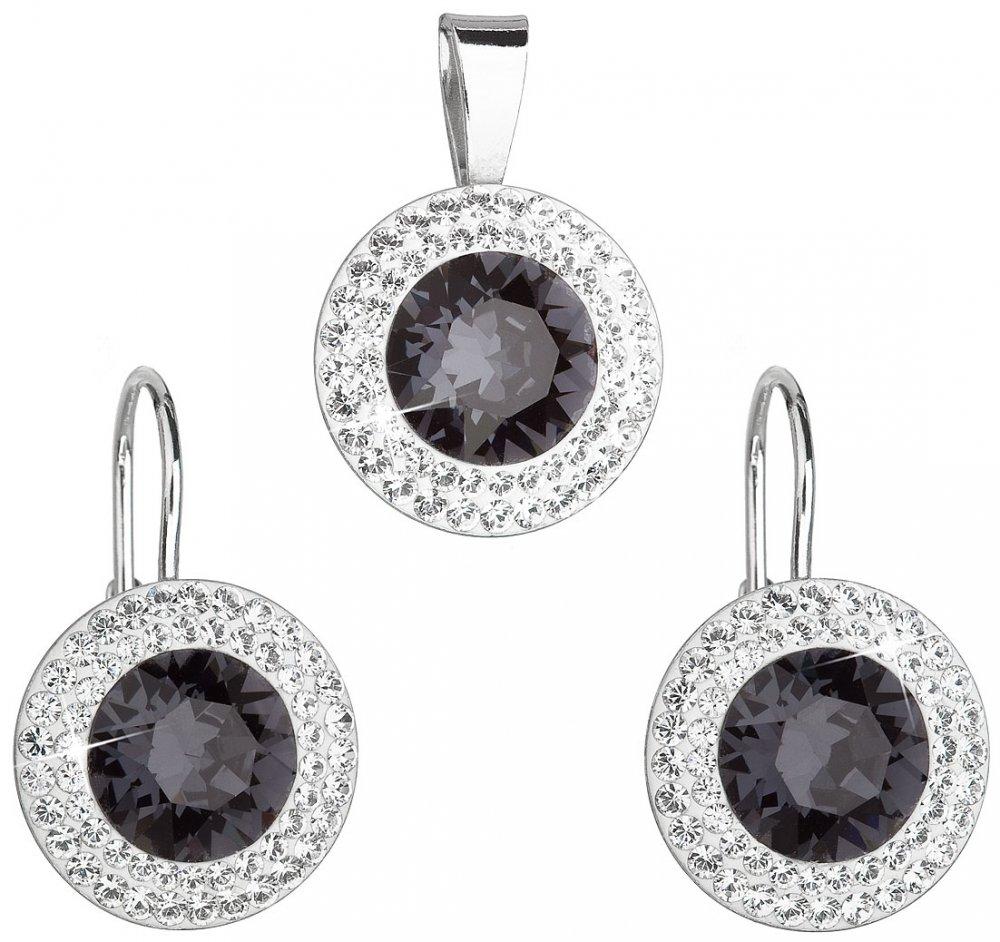 Sada šperků s krystaly Swarovski náušnice a přívěsek černé kulaté 39107.3 Graphite