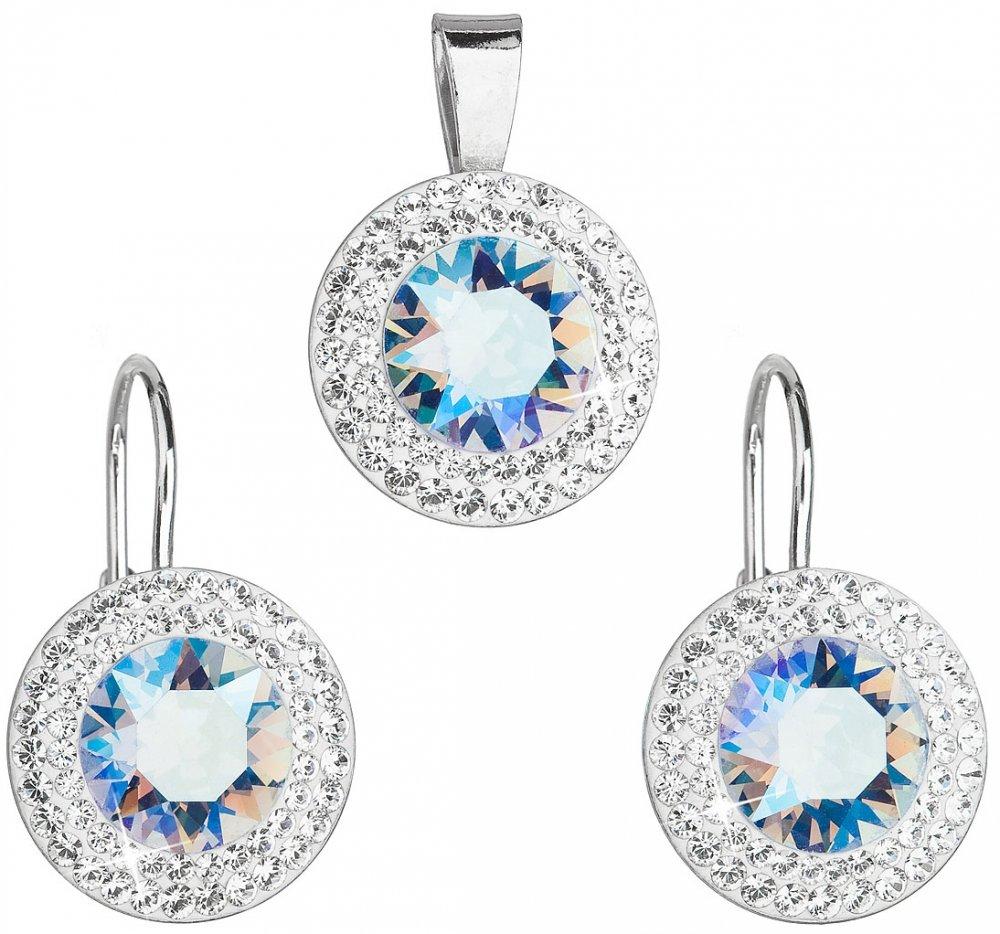Sada šperků s krystaly Swarovski náušnice a přívěsek modré kulaté 39107.5 Light Sapphire Shimmer