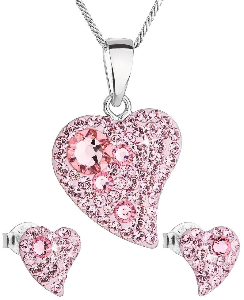 Sada šperků s krystaly Swarovski náušnice a přívěsek růžová srdce 39170.3 Light Rose