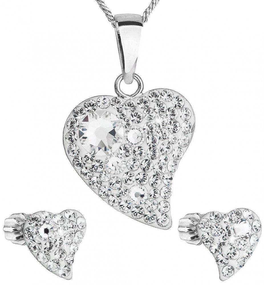 Sada šperků s krystaly Swarovski náušnice,řetízek a přívěsek bílé srdce 39170.1 Krystal