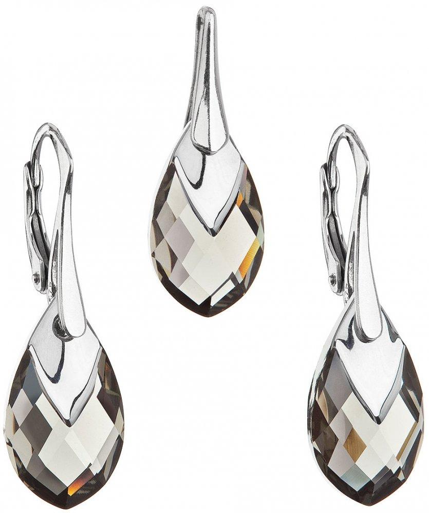 Sada šperků s krystaly Swarovski náušnice a přívěsek šedá slza 39169.4 Black Diamond Lt. Chrome