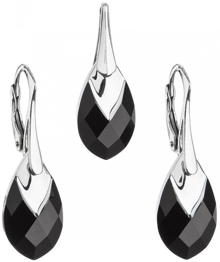 Sada šperků s krystaly Swarovski náušnice a přívěsek černá slza 39169.4 Jet Lt. Chrome