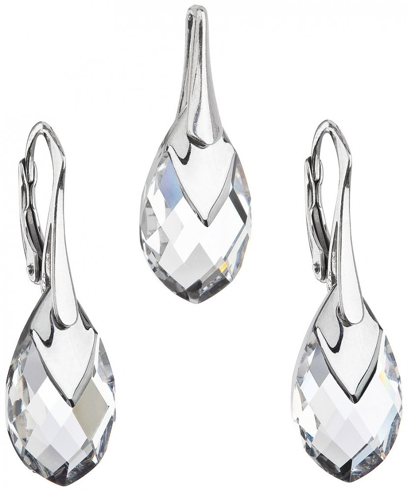 Sada šperků s krystaly Swarovski náušnice a přívěsek stříbrošedá slza 39169.4 Krystal Lt. Chrome