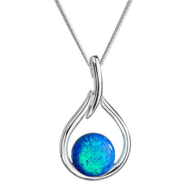 Stříbrný náhrdelník se syntetickým opálem modrá kapka 12045.3 Blue s. Opal