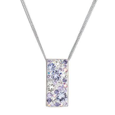 Stříbrný náhrdelník se Swarovski krystaly fialový obdélník 32074.3 Violet