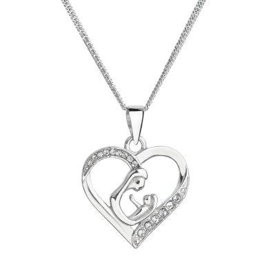 Stříbrný náhrdelník matka a dítě se Swarovski krystaly bílý 32073.1 Krystal