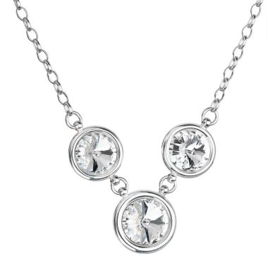 Stříbrný náhrdelník se Swarovski krystaly kulatý 32033.1 bílý