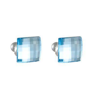Náušnice Swarovski elements diskočtverec světle modré EMB 3.2, pecky, 8mm, aqua