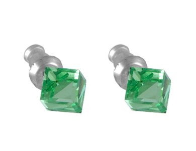 Náušnice se Swarovski Elements zelená kostka Peridot 6 mm
