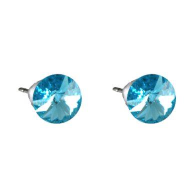 Náušnice modré Rivoli se Swarovski Elements Aqua 8 mm