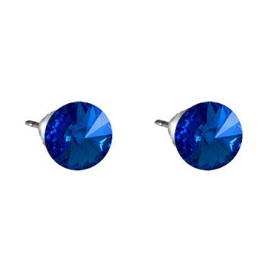 Náušnice tmavě modré Rivoli se Swarovski Elements Sapphire 8 mm