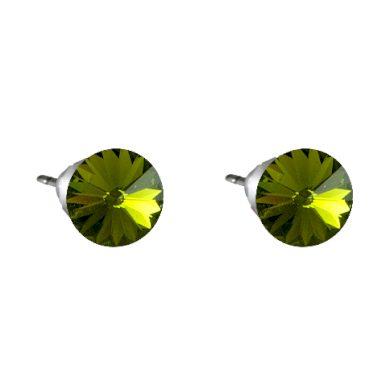 Náušnice tmavě zelená Rivoli se Swarovski Elements Olivine 8 mm