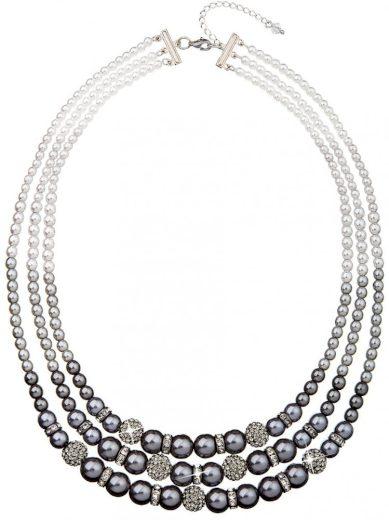 Náhrdelník se Swarovski Elements perlový Grey