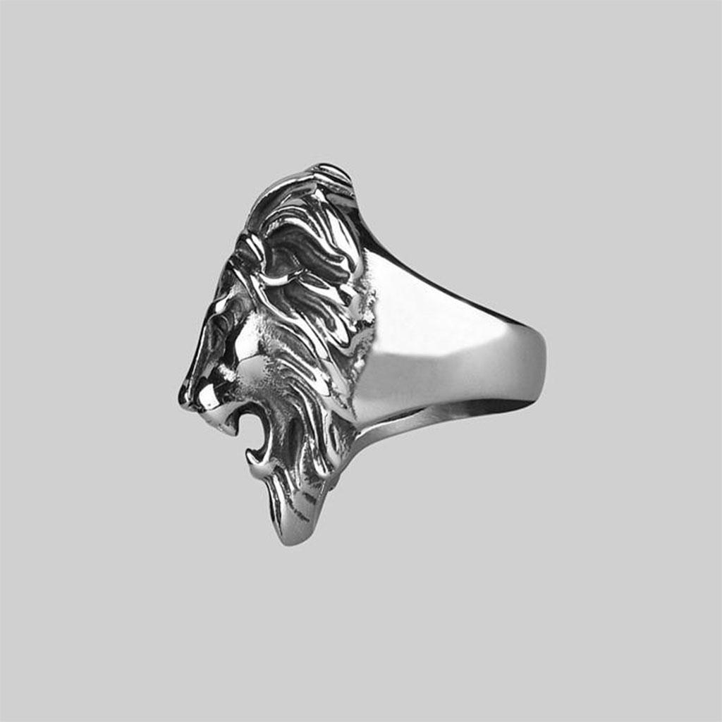 Royal - Ego - Stříbrný Prsten S Robustní Lví Hlavou