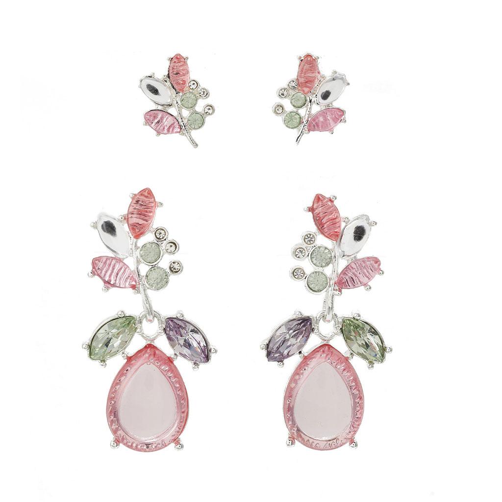 Only - Skleněné peckové náušnice připomínající kytky