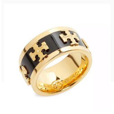 Tory Burch - Zlatý Smaltovaný Prsten Černý