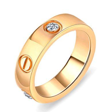 Diamond Style - Široký Prsten / Prstýnek Love Zlaté Barvy.