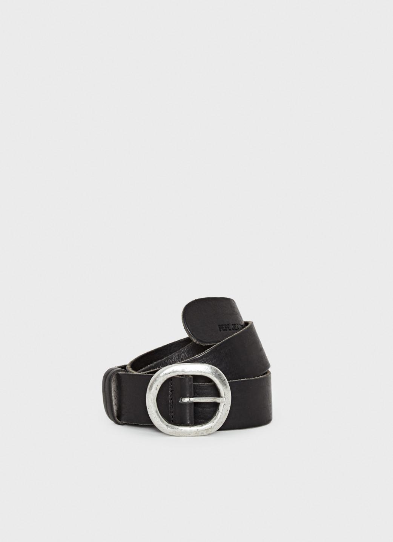 Pepe Jeans dámský černý kožený pásek Angela