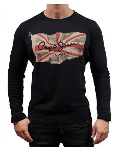 Pepe Jeans pánské černé tričko s dlouhým rukávem FLAG LOGO LS