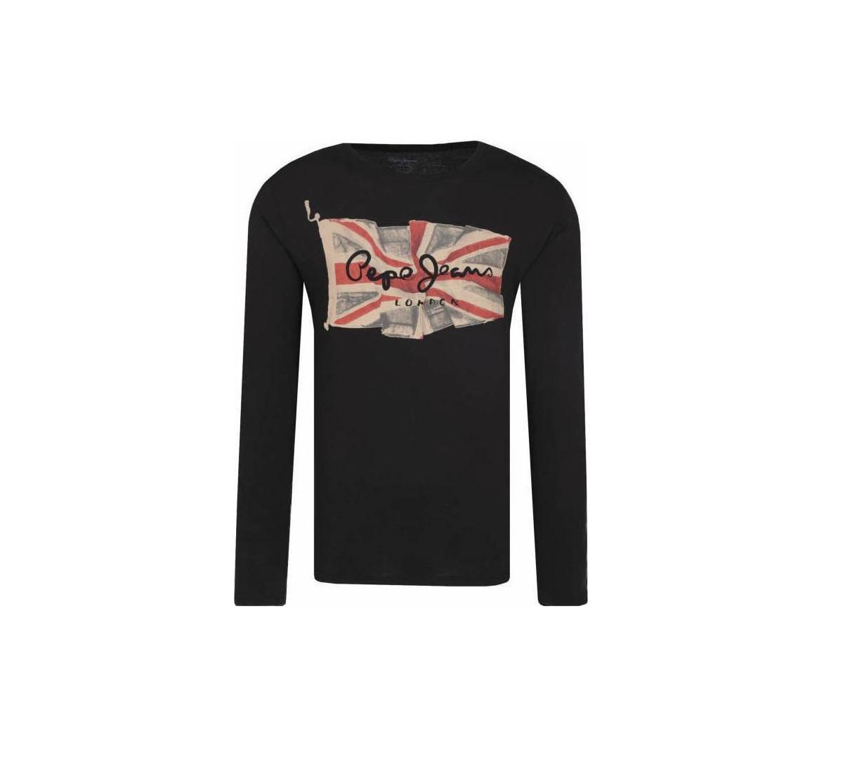 Pepe Jeans pánské tmavě šedé tričko s dlouhým rukávem FLAG LOGO LS