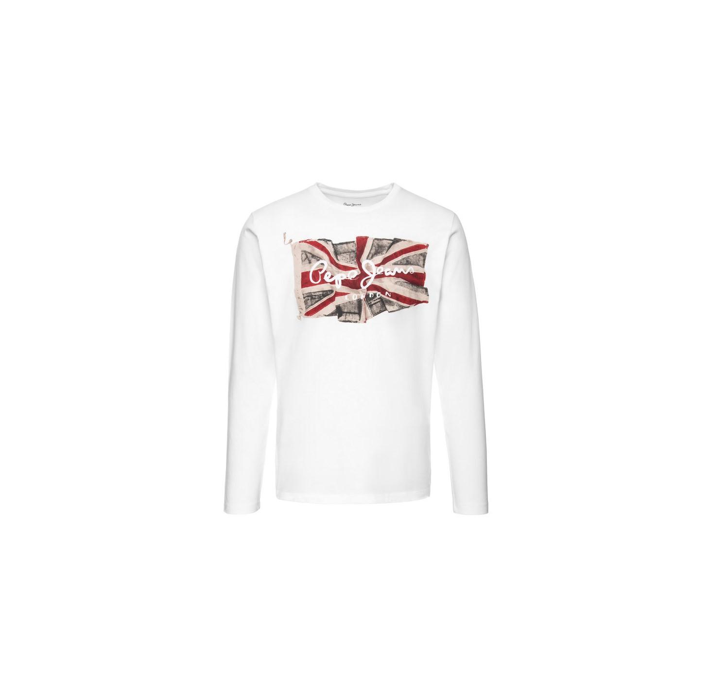 Pepe Jeans pánské bílé tričko s dlouhým rukávem FLAG LOGO LS