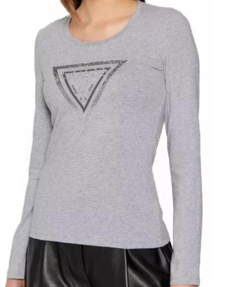 GUESS dámské šedé tričko s dlouhým rukávem AMALUR