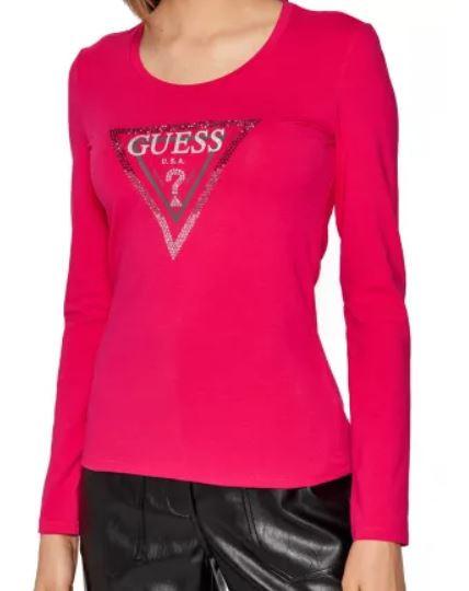 GUESS dámské růžové tričko s dlouhým rukávem AMALUR