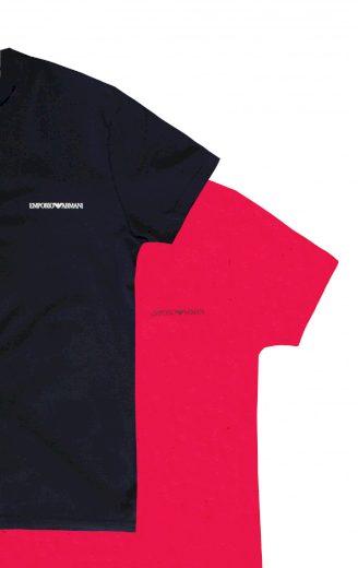 EMPORIO ARMANI pánské trička 2 ks - růžové a černé