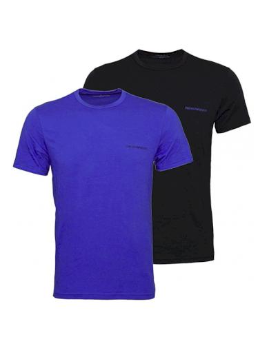 EMPORIO ARMANI pánské trička 2 ks - modré, černé